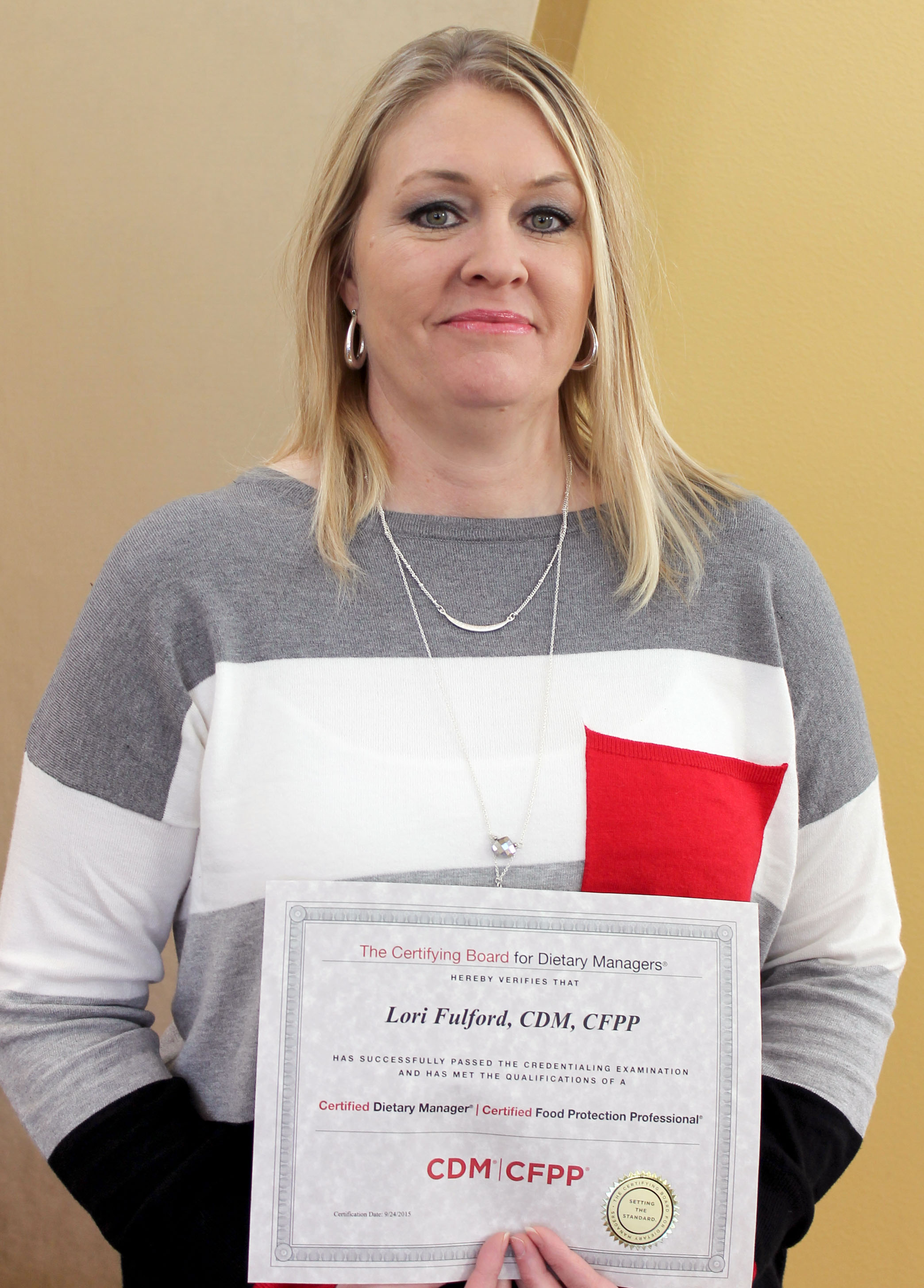 Dietary manager receives certification medical arts hospital dietary manager receives certification xflitez Gallery